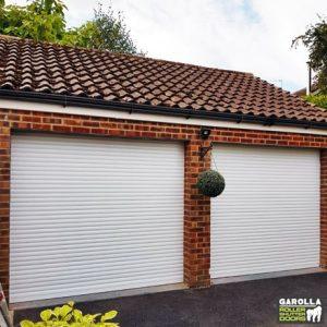 Double White Roller Garage Doors