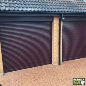 Double Rosewood Roller Garage Door