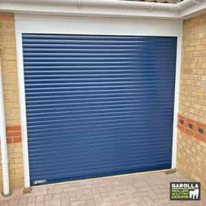 Single Roller Garage Door in Blue - 55mm Slats