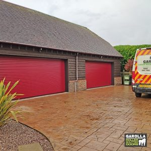 Two Double Roller Garage Doors in Traffic Red - 77mm Slats