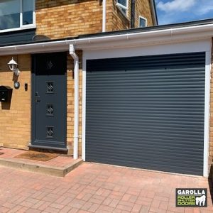 Single Roller Garage Door in Anthracite Grey - 55mm Slats