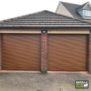 Two Single Roller Garage Doors in Golden Oak - 55mm Slats