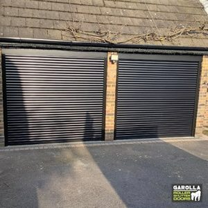 Two Single Roller Garage Door in Black - 55mm Slats