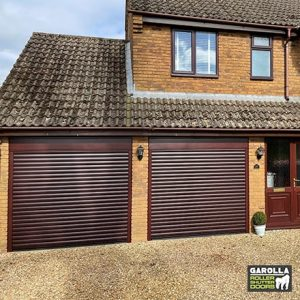 Two Single Roller Garage Door in Black Cherry - 55mm Slats